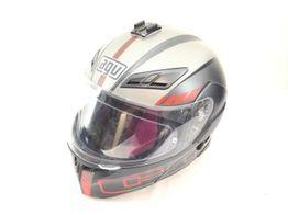 capacete integral agv compact st seattle matt black silver red