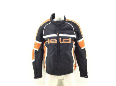 casaco motociclista outro 76 preto e laranja