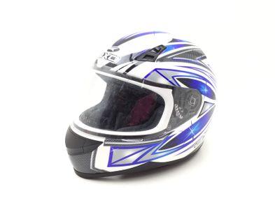 casco integral axo blanco y azul