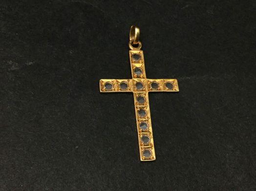 crucifijo oro primera ley (oro 18k con piedra)