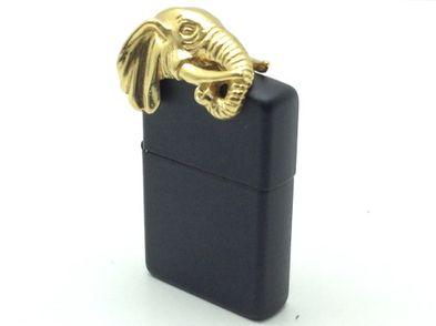 encendedor zippo zippo negro con cabeza elefante dorada