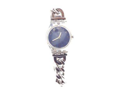 relogio pulseira senhora swatch mostrador pequeno azul com bracelete em metal