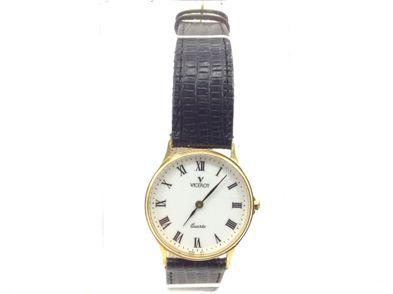 reloj de oro viceroy oro con esfera blanca y correa de piel