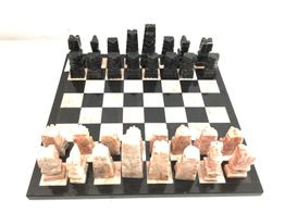 set tablero fichas ajedrez  mexicano marmol