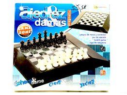 set tablero fichas game zone ajedrez damas