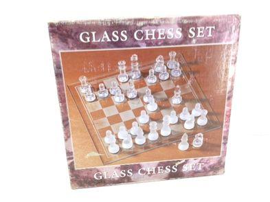 set tablero fichas glass chess set cristal