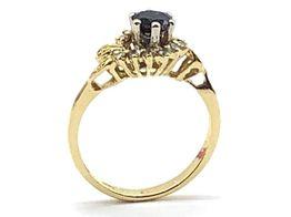 sortija oro 18k con piedra diamante,zafiro